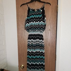 Black and teal striped sinched dress